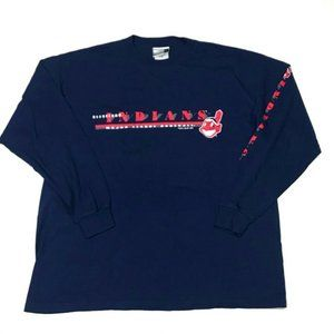 Cleveland Indians Puma Mens Shirt Blue Long Sleeve